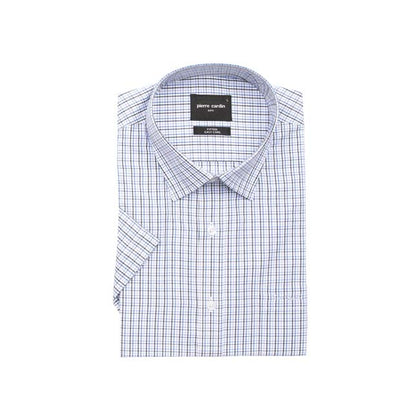 Pierre Cardin Fitted Short-Sleeved Shirt - Blue