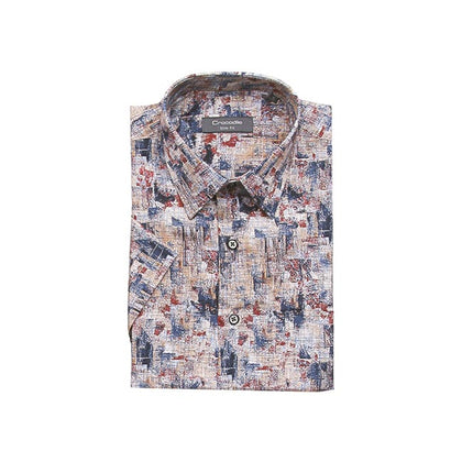 Crocodile 100% Cotton Short-Sleeved Shirt - Abstract Multicolour