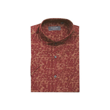 Crocodile 100% Cotton Short-Sleeved Shirt - Red Gold