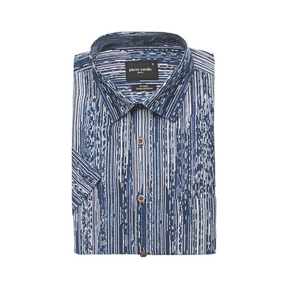 Pierre Cardin Short-Sleeved Shirt - Blue Grooves