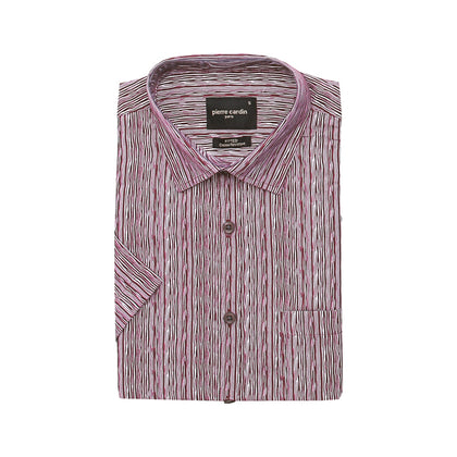 Pierre Cardin Short-Sleeved Shirt - Red Grooves