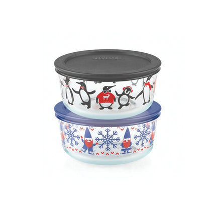 Pyrex 4pc 4 Cup Decorated Storage Set - Just Chillin & Gnome