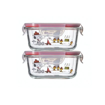 Pyrex 4pc 510ml Square Storage - Snoopy Colorful