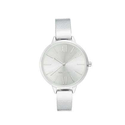 Nine West Women's Analog Wrist Watch Silver NW-2307SVSI