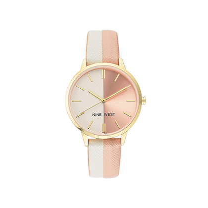 Nine West Women's Gold-Tone Accented White and Light Pink Vegan Leather Strap Watch NW-2440WTLP