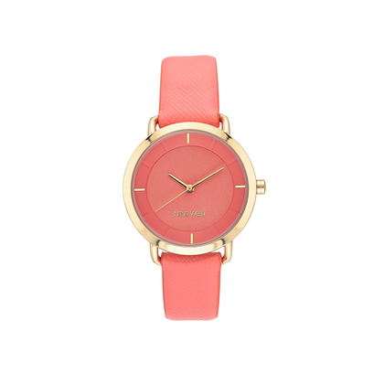 Nine West Women's Gold-Tone and Coral Vegan Leather Strap Watch NW-2438COCO
