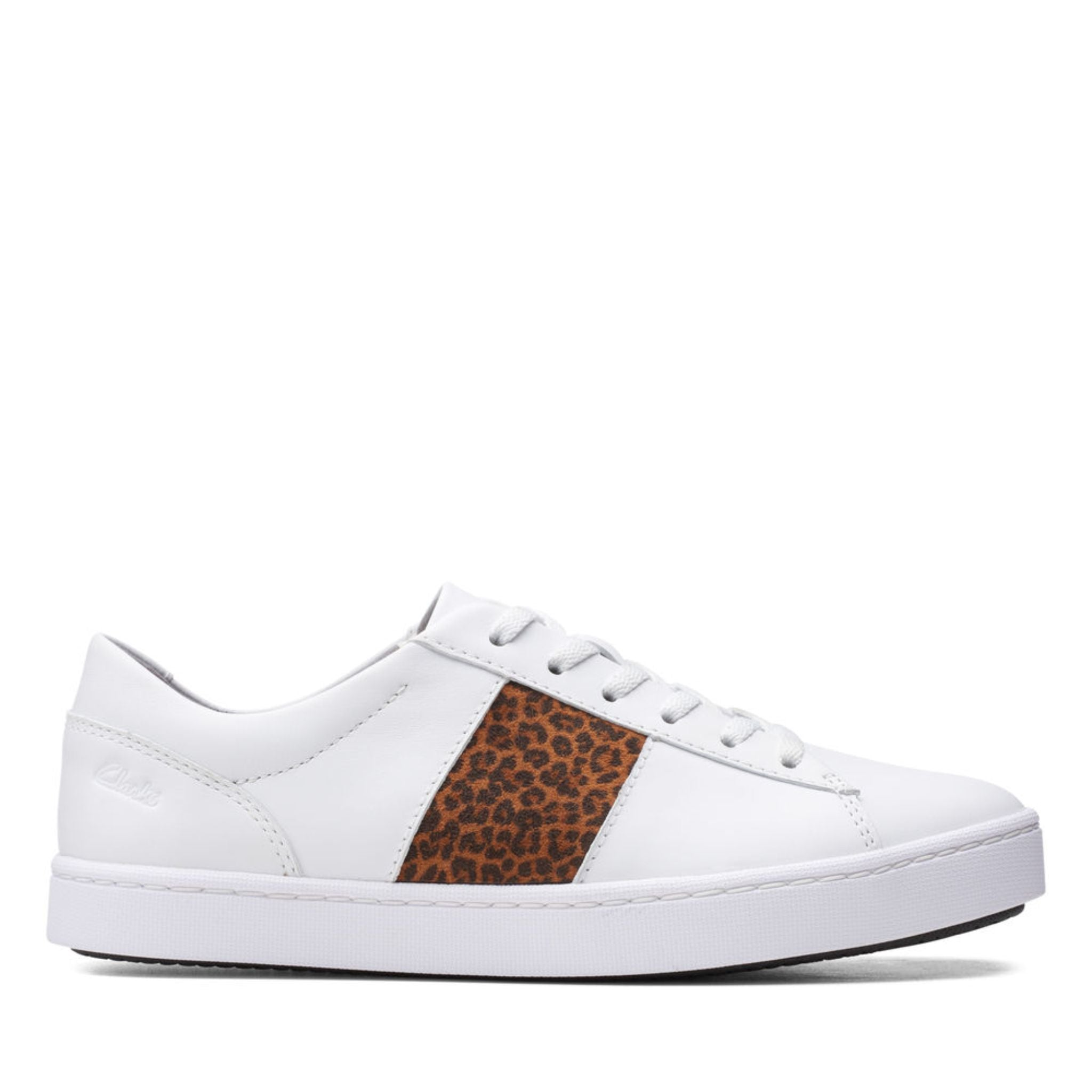 Clarks Collection Pawley Rilee White Leather/ Leopard Combi