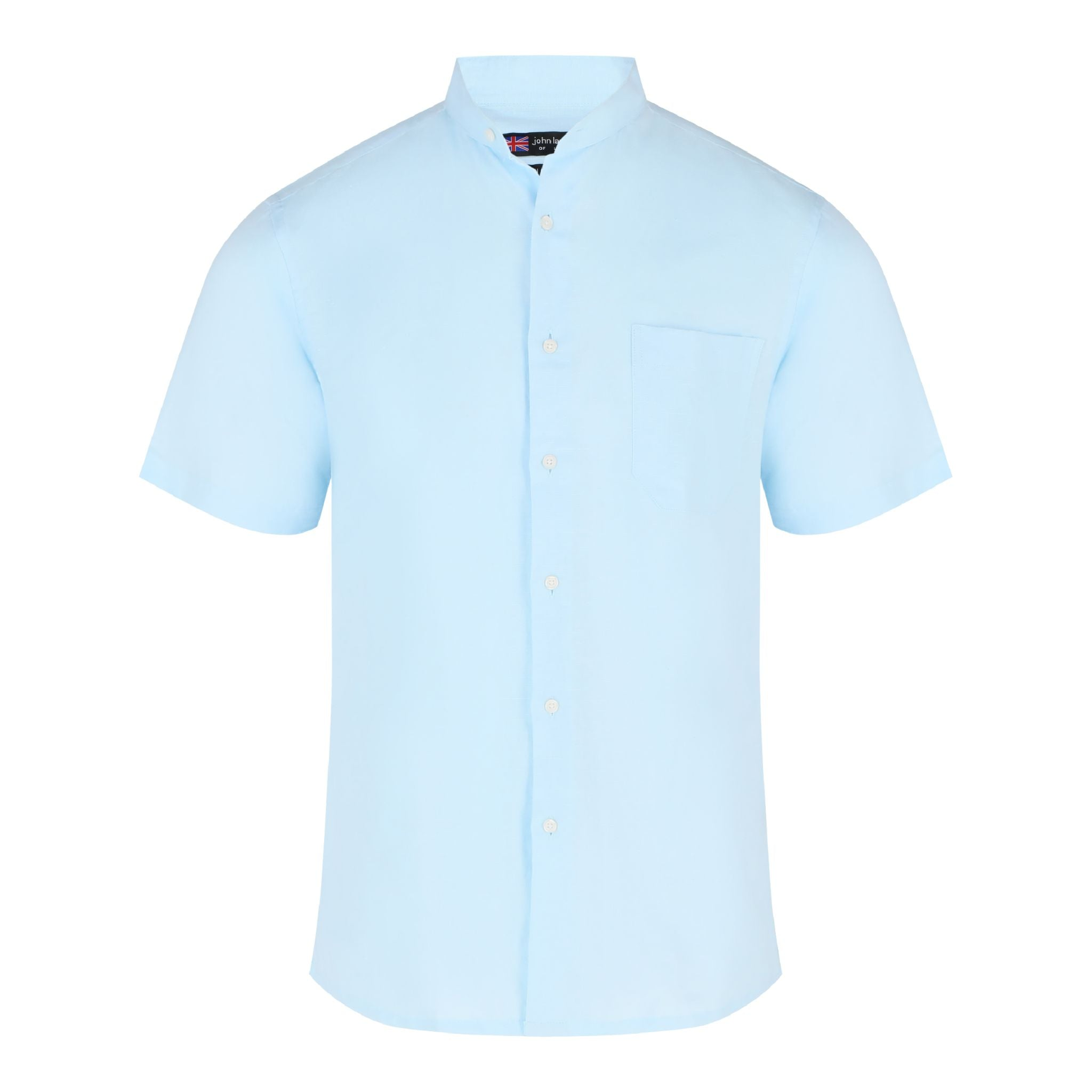 John Langford Linen Cotton Mandarin Collar Short Sleeve Casual Shirt - Light Blue