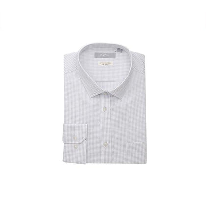 GOLDLION 100% Cotton Long-Sleeved White Small Checked