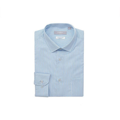 GOLDLION 100% Cotton Long-Sleeved Shirt - Blue