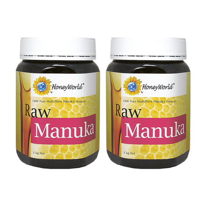 HoneyWorld Raw Manuka Honey 1KG x 2