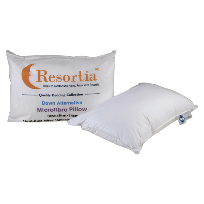 Resortia 100% Cotton Anti-dustmite Microfibre Firm Pillow x 2