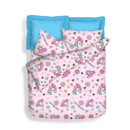 Sanrio 900TC 100% Microluxe Summer Light Quilt/Fitted Sheet Set - Kiss Melody