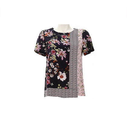 Enro Asymmetric Multi Color Block Floral Blouse