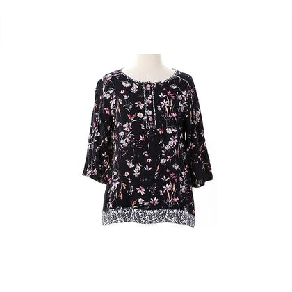 Enro Floral Blouse With Piping Layered Hem