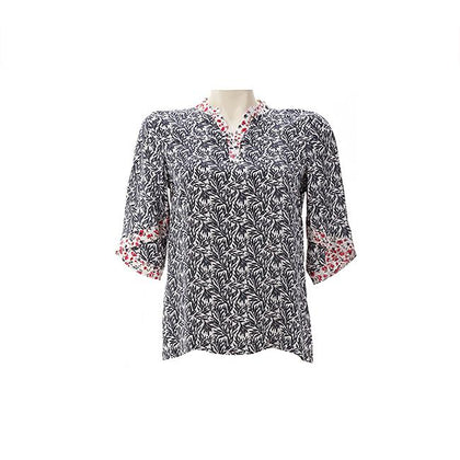 Enro Overlay Sleeves Floral Blouse