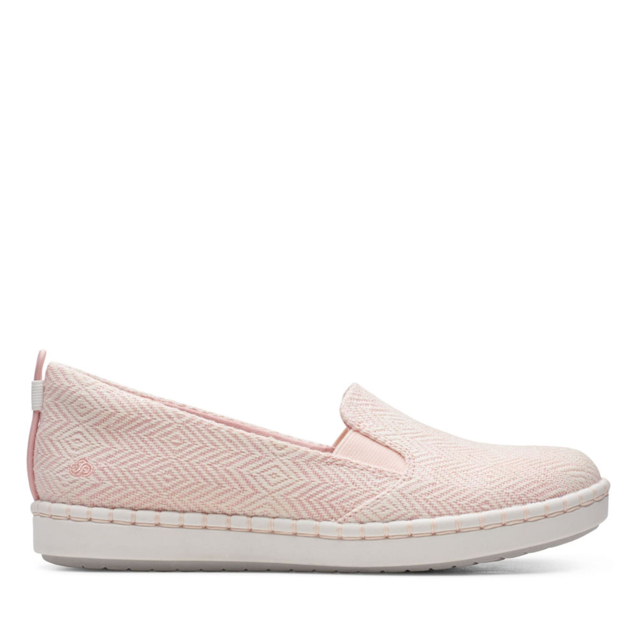Clarks Cloudstepper Step Glow slip Pink white textile