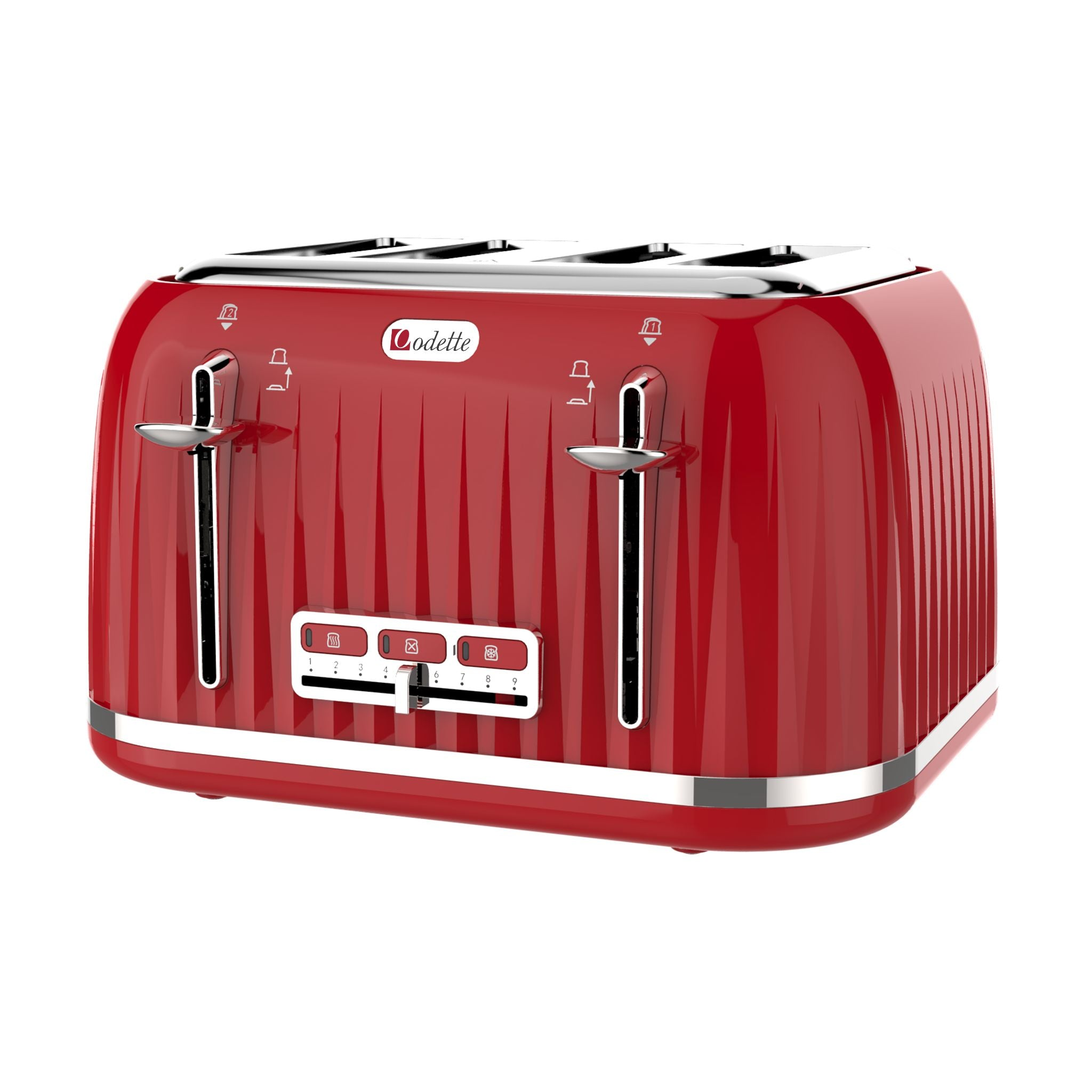 Odette Jukebox Series 1.7L Retro 4-slice Bread Toaster - Red