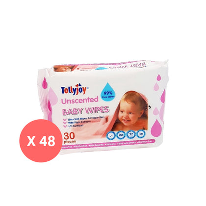 Tollyjoy Travel Wet Wipes 48 x 30 Sheets - Unscented
