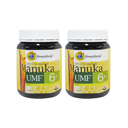 HoneyWorld Raw Manuka UMF6+ 1KG X 2