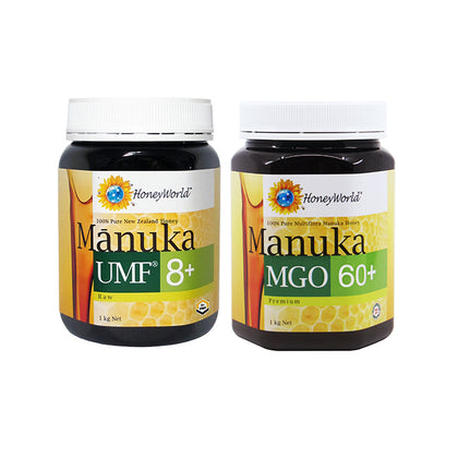 HoneyWorld Raw Manuka UMF8+ 1KG + Manuka MGO 60+ 1KG