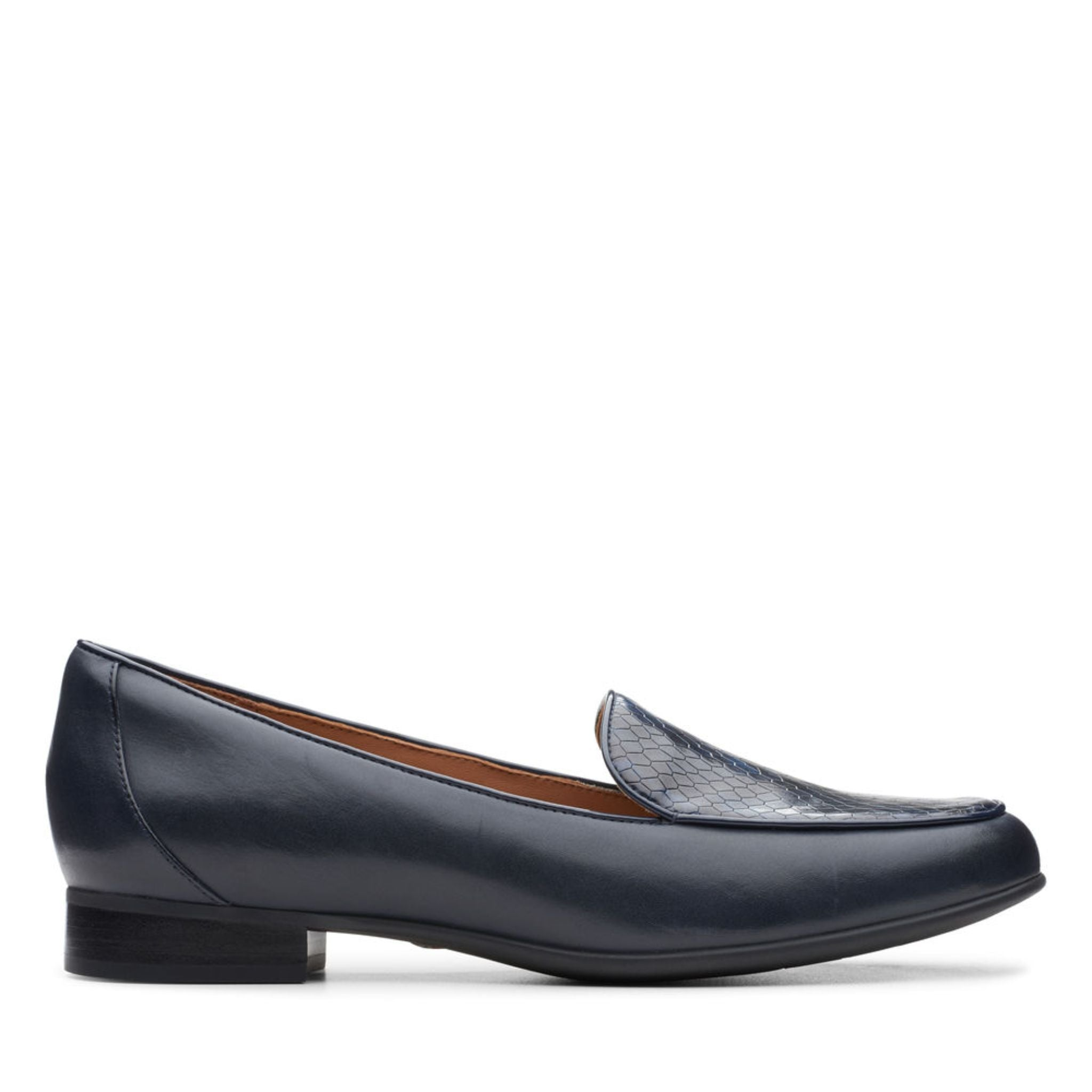 Clarks Un Blush Ease Navy Leather/Snake Combination