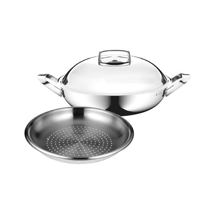 WMF 32cm Deep Wok with Steaming Insert Bundle Set