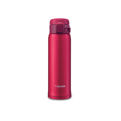 Zojirushi 0.6L Stainless Steel One-Push Vacuum Bottle - Clear Red