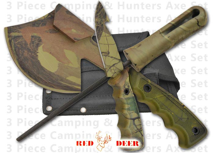 Hunter's Axe and Knife Kit Camping Set in Forest Camo Design