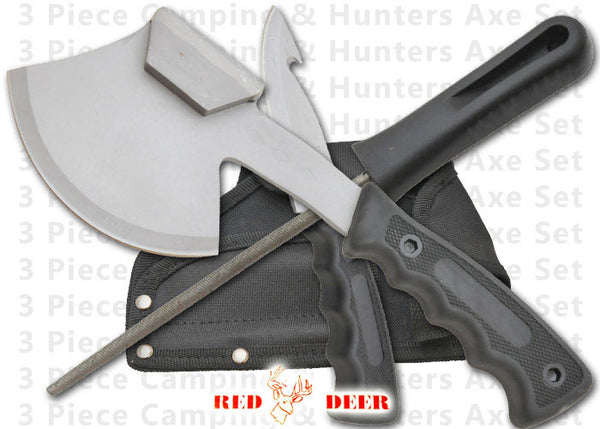 Hunter's Axe and Knife with Sharpener Set in Silver and Black Design