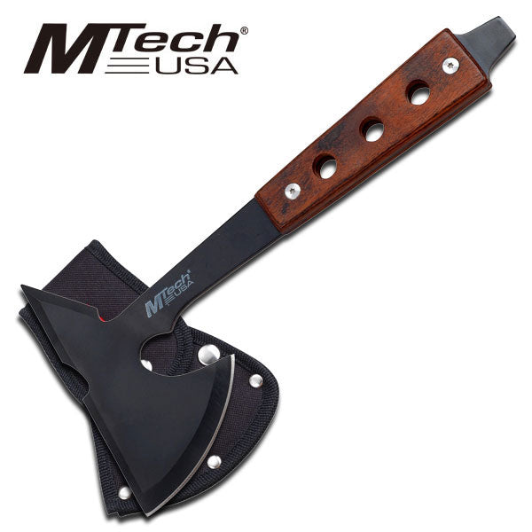 MTech consist of a black stainless steel blade and a unique pakkawood handle designed with 3 holes.