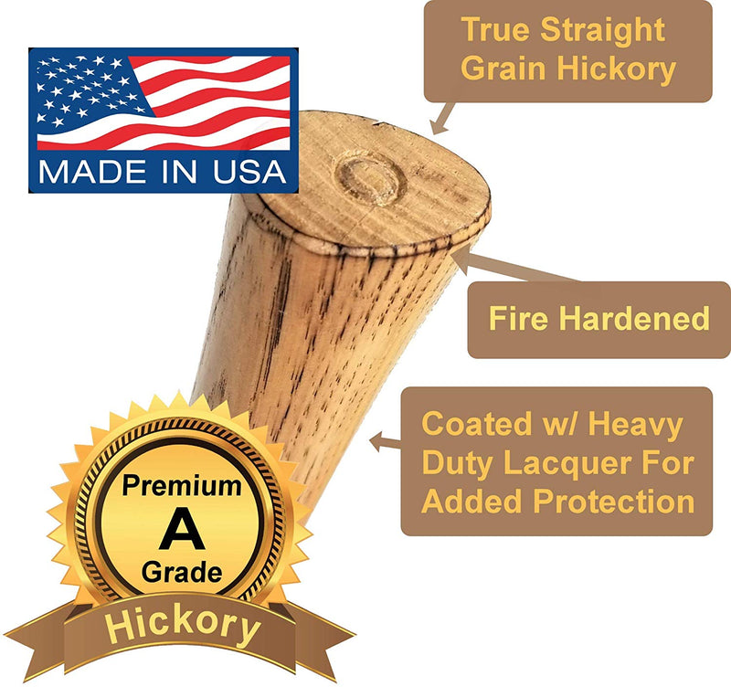 Throwing Tomahawk Handle - Fire Hardened & Lacquered - 19 inch A Grade American Hickory Wood