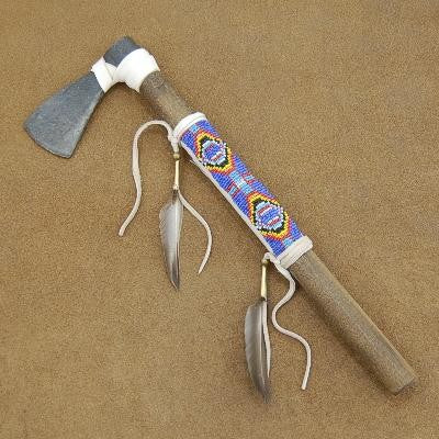 Native American Buckskin Beaded Tomahawk