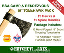 "BSA Camp & Rendezvous 19"" Tomahawk Pack - 12 hawks & 12 spare handles"