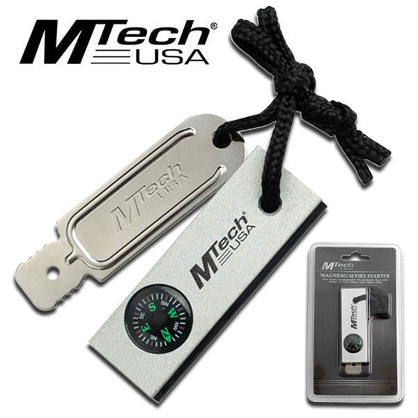 Magnesium Fire Starter with Compass - M-Tech