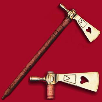 Sioux Style Polished Brass Peace Pipe Tomahawk with Pierced Heart Design