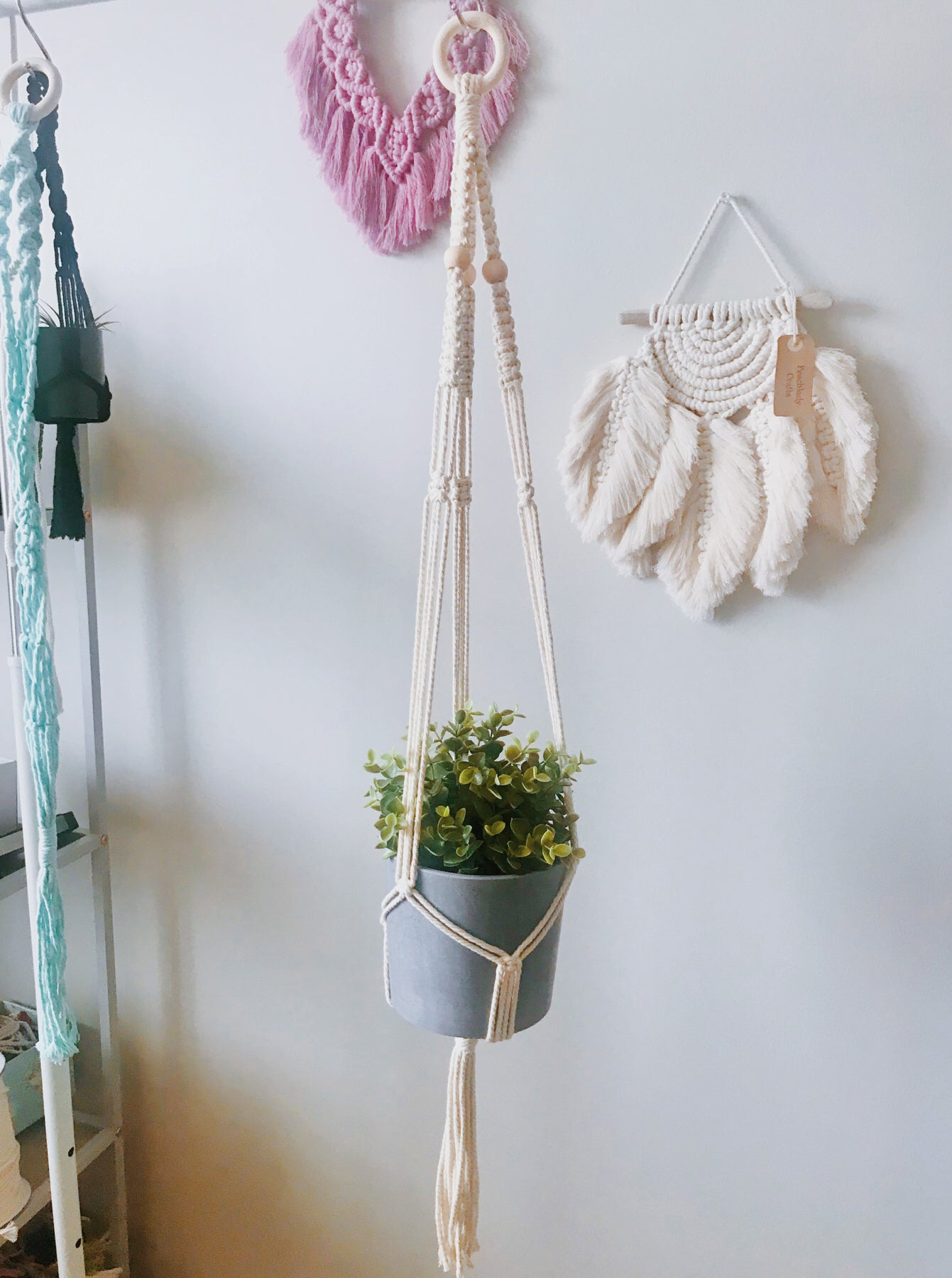 Macrame 3 beads plant hanger DIY Kit