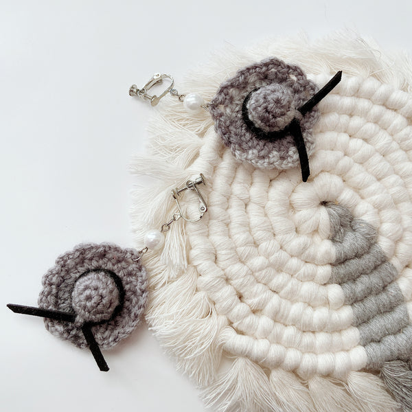Handmade Crocheted Straw Hat Dangled Earrings | Statement Earrings | Fall Earrings | Handmade Earrings