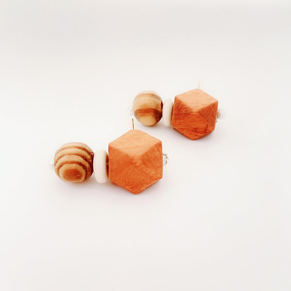 Wooden Beads Handmade Earring Studs