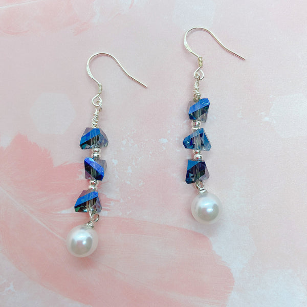 Crystal and Pearl Design Chic Handmade Earrings