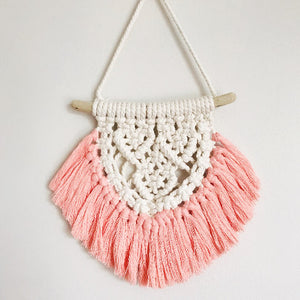 Peachlady Crafts Handmade Mini Heart Fringe Macrame Wall Hanging