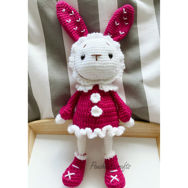 Peachlady Crafts cute handmade Bunny GIRL crochet amigurumi toy