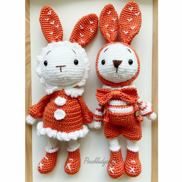 Peachlady Crafts cute handmade Bunny COUPLE crochet amigurumi toy