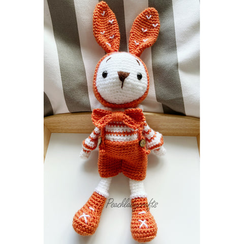 Peachlady Crafts cute handmade Bunny BOY crochet amigurumi toy
