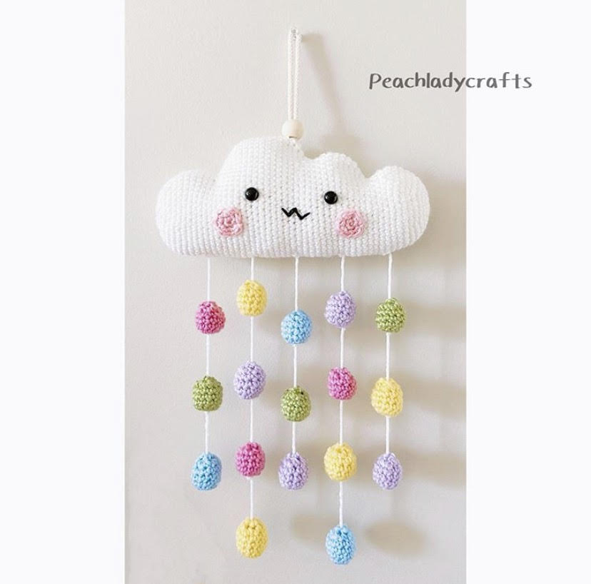 Handmade Crocheted Cloud and Rainbow Rain Decor | Small children toy | baby toy