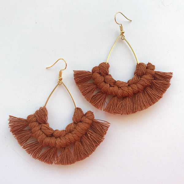 Handmade Tear Drop Boho Style Macrame Earrings