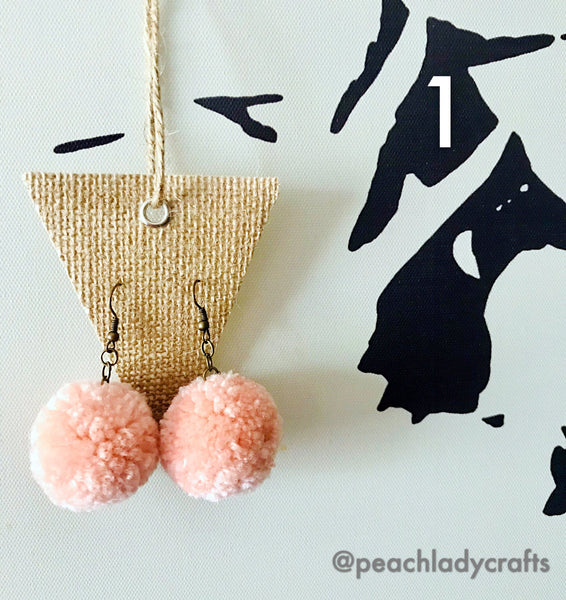 Peachlady Crafts Handmade Original Design Pom Pom Earrings