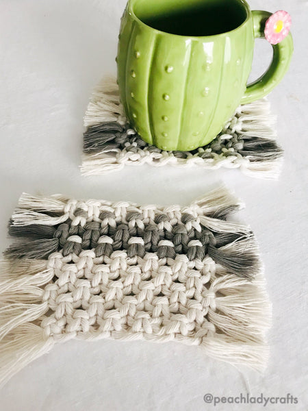 Peachlady Crafts handmade macrame coaster