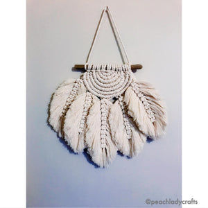Peachlady Crafts Handmade Feather Love Macramé