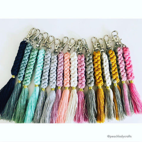 Peachlady Crafts Handmade Braided Macrame KeyChain